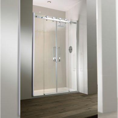 Frontline Aquaglass Frameless 8mm Double Sliding Shower Doors with Double-Sided Chrome Handles - 1400mm
