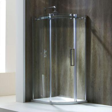 Frontline Aquaglass Frameless 8mm Left Hand Offset Quadrant Shower Enclosure with Sliding Door - 1200x800mm
