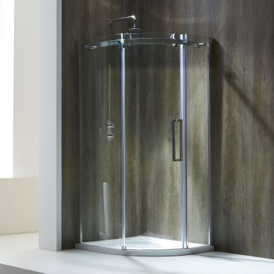 Frontline Aquaglass Frameless 8mm Left Hand Offset Quadrant Shower Enclosure with Sliding Door - 1200x900mm