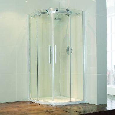 Frontline Aquaglass Frameless 8mm Offset Quadrant Shower Enclosure with Two Sliding Doors - 1200x900mm