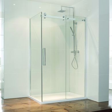 Frontline Aquaglass Frameless 8mm Sliding Shower Door with Large Double-Sided Chrome Handles - 1700mm