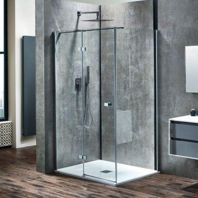 Frontline Aquaglass Linear 8mm Left Hand Hinged Shower Door with Frameless Design - 1400mm