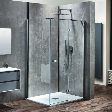 Frontline Aquaglass Linear 8mm Right Hand Hinged Shower Door with Frameless Design - 1400mm