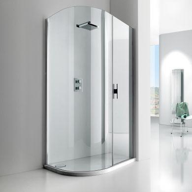 Frontline Aquaglass Lux Left Hand 8mm Offset Quadrant Shower Enclosure with Sliding Door - 1200x600mm