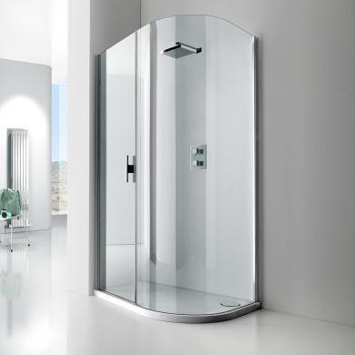 Frontline Aquaglass Lux Right Hand 8mm Offset Quadrant Shower Enclosure with Sliding Door - 1200x600mm