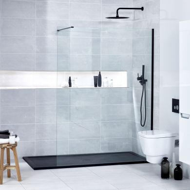 Frontline Aquaglass Onyx 10mm Black Framed Clear Walk-In Shower Front Panel - 1000mm