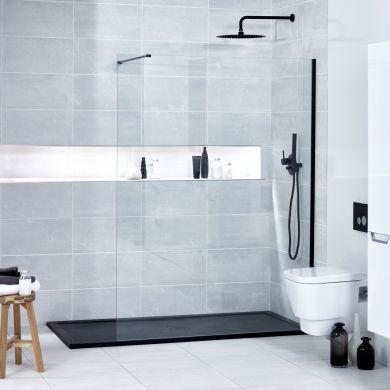 Frontline Aquaglass Onyx 10mm Black Framed Clear Walk-In Shower Front Panel - 900mm
