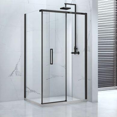 Frontline Aquaglass Onyx 8mm Black Framed Sliding Shower Door with Matt Black Handles - 1400mm