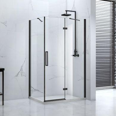Frontline Aquaglass Onyx Black Frameless 8mm Hinged Shower Door with Matt Black Handles - 1400mm