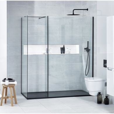 Frontline Aquaglass Onyx Black Framed 8mm Walk-In Shower Glass Panel and 300mm Return Panel - 700mm