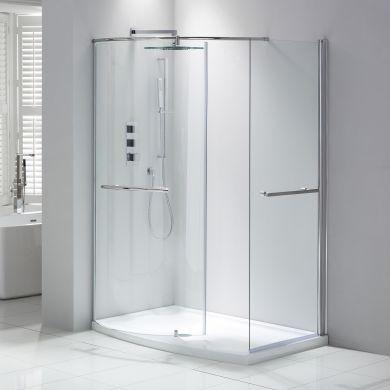 Frontline Aquaglass Purity 6mm Closing Walk-In Shower Enclosure - 1350x900mm