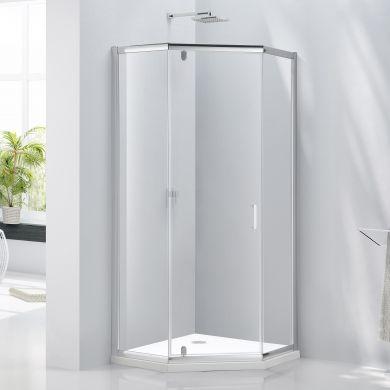 Frontline Aquaglass Purity 6mm Pentagonal Shower Enclosure with Hinged Door - 1000x1000mm
