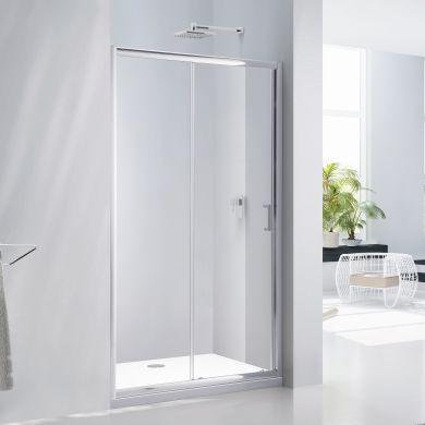 Frontline Aquaglass Purity 6mm Sliding Shower Door with Chrome Handle - 1400mm