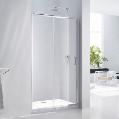 Frontline Aquaglass Purity 6mm Sliding Shower Door with Chrome Handle - 1600mm