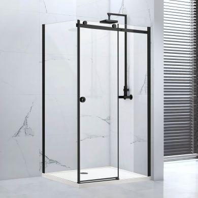 Frontline Aquaglass Sphere 8mm Black Framed Sliding Shower Door with Double Sided Handle - 1400mm