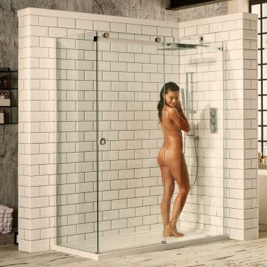 Frontline Aquaglass Sphere 8mm Frameless Sliding Shower Door with Chrome Cut-Out Handle - 1400mm