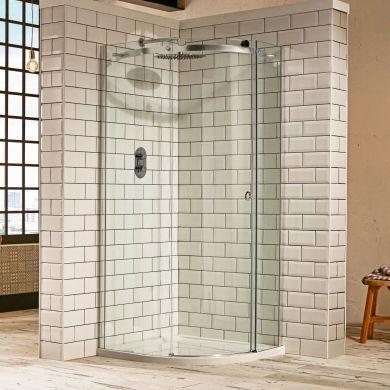 Frontline Aquaglass Sphere 8mm Right Hand Offset Quadrant Shower Enclosure with Sliding Door - 1000x800mm