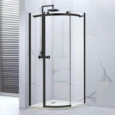 Frontline Aquaglass Sphere Left Hand Black Framed 8mm Offset Quadrant Shower Enclosure with Sliding Door - 1200x900mm