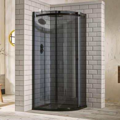 Frontline Aquaglass Sphere Tinted 8mm Quadrant Shower Enclosure with Sliding Door - 800x800mm