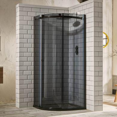 Frontline Aquaglass Sphere Tinted Left Hand 8mm Offset Quadrant Shower Enclosure with Sliding Door - 1000x800mm