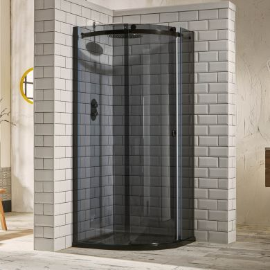 Frontline Aquaglass Sphere Tinted Right Hand 8mm Offset Quadrant Shower Enclosure with Sliding Door - 1200x900mm