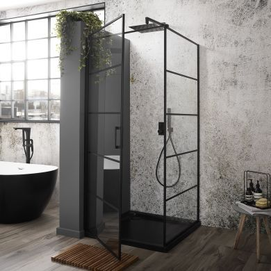 Frontline Aquaglass Velar+ 6mm Shower Enclosure with Single Hinged Door and Side Panel - 900x900mm