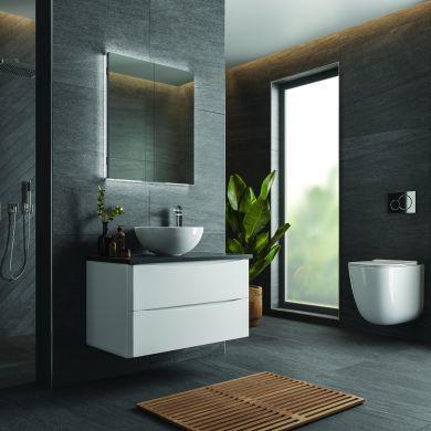 HiB Atrium 60 Double Door LED Illuminated Semi-Recessed Mirrored Cabinet - 600x700mm