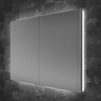 HiB Atrium 80 Double Door LED Illuminated Semi-Recessed Mirrored Cabinet - 800x700mm