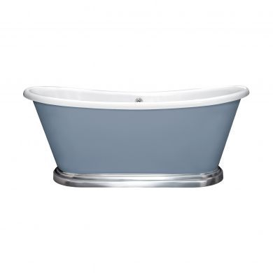 BC Designs Boat Polished White Roll Top Bath With Aluminium Plinth 1700x750mm