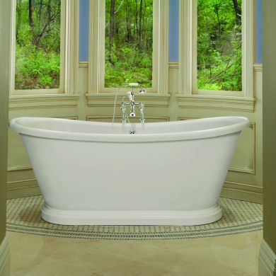 BC Designs Boat Polished White Roll Top Bath 1800x800mm