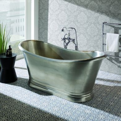 BC Designs Brushed Tin Boat Classic Roll Top Bath 1700x725mm