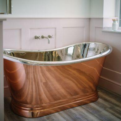 BC Designs Copper/Nickel Boat Classic Roll Top Bath 1700x725mm