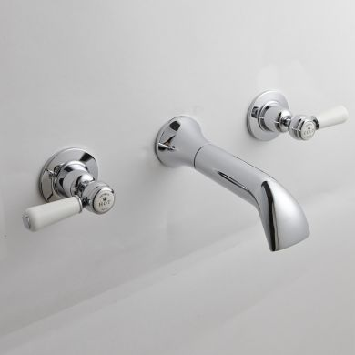 BC Designs Victrion Lever 3 Hole Wall Mounted Bath Filler