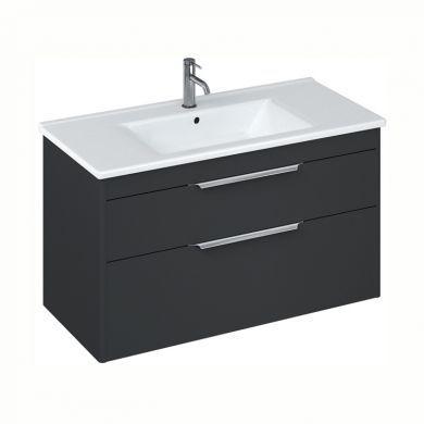 Britton Shoreditch 1000mm Double Drawer Vanity Unit With Basin - Matt Grey