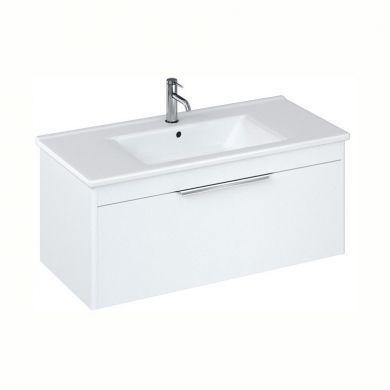 Britton Shoreditch 1000mm Single Drawer Vanity Unit With Basin - Matt White