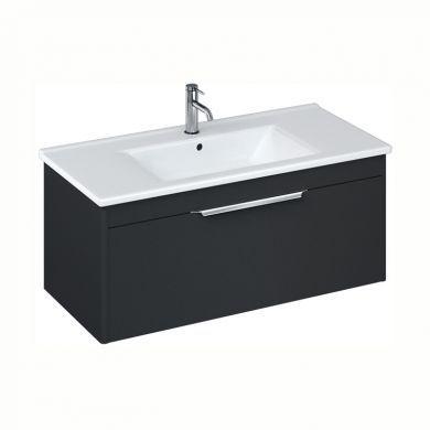 Britton Shoreditch 1000mm Single Drawer Vanity Unit With Basin - Matt Grey