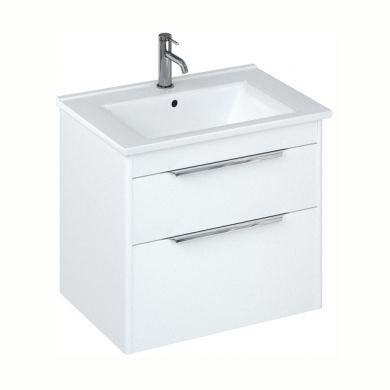 Britton Shoreditch 650mm Double Drawer Vanity Unit With Basin - Matt White