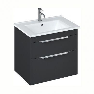Britton Shoreditch 650mm Double Drawer Vanity Unit With Basin - Matt Grey