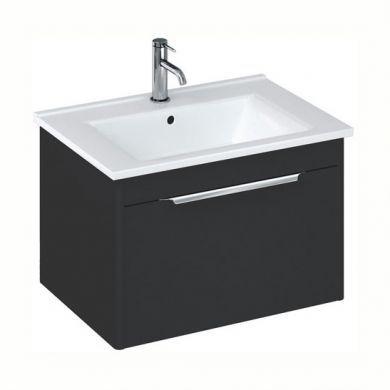 Britton Shoreditch 650mm Single Drawer Vanity Unit With Basin - Matt Grey