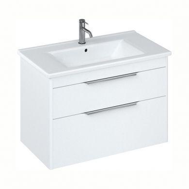 Britton Shoreditch 850mm Double Drawer Vanity Unit With Basin - Matt White