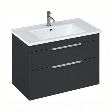 Britton Shoreditch 850mm Double Drawer Vanity Unit With Basin - Matt Grey