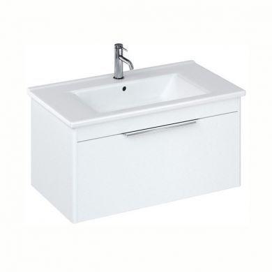 Britton Shoreditch 850mm Single Drawer Vanity Unit With Basin - Matt White