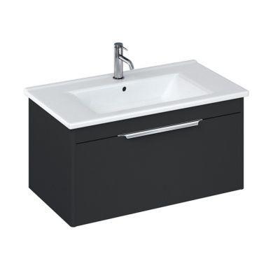Britton Shoreditch 850mm Single Drawer Vanity Unit With Basin - Matt Grey