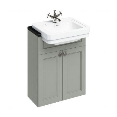 Burlington 600mm Double Door Vanity Unit For Semi Recessed Basins - Dark Olive