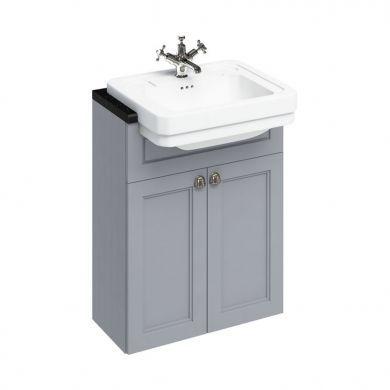 Burlington 600mm Double Door Vanity Unit For Semi Recessed Basins - Classic Grey