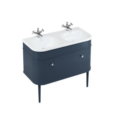 Burlington Chalfont 1000 Single Drawer Vanity Unit and Double Roll Top Basin with Legs