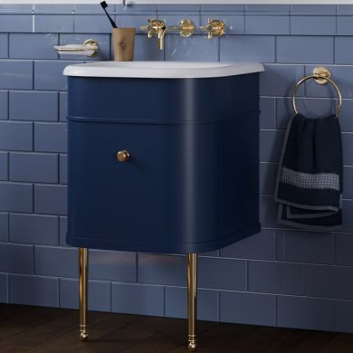 Burlington Chalfont 550 Single Drawer Vanity Unit and Small Roll Top Basin with Legs