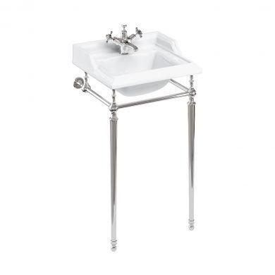 Burlington Classic 510mm Square Basin With Standard Chrome Wash Stand