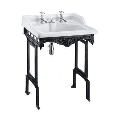 Burlington Classic 650mm Invisible Overflow Basin With Black Aluminium Washstand