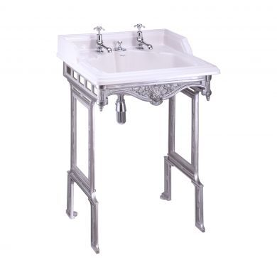 Burlington Classic 650mm Invisible Overflow Basin With Brushed Aluminium Washstand